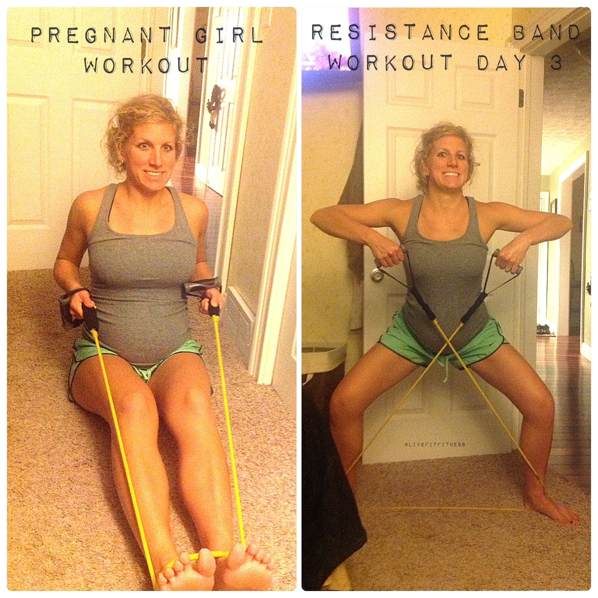 Pregnant Girls Resistance Band Workout
