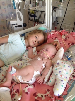 Ava and Angelina in the PICU 2014